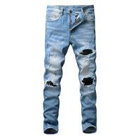 Men's Jeans American Street Style Fashion Men Slim Fit Retro Blue Destroyed Ripped Patch Designer Hip Hop Denim Punk Pants