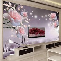 Custom Size Po 3D Mural Modern Rose Flower Self Adhesive Wallpaper Living Room TV Sofa Bedroom Romantic Home Decor Waterproof Wallpapers