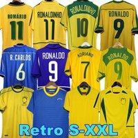 1998 Brasil Soccer Jerseys 2002 القمصان الرجعية Carlos Romario Ronaldo Ronaldinho 2004 Camisa de Futebol 1994 البرازيل 2006 1982 Rivaldo Adriano 1988 2000 1957 2010
