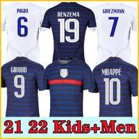 الرجال + أطفال 2021 Grieuzmann Mbappe Soccer Jersey Kante 21 22 Centenaire Chemise Pogba Maillot de Football 2020 فرنسا Benzema Giroud Kimpembe Ndombele Thaauvin 100th