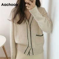 Aachoae Patchowrk Sweater Tricoté Femmes Élégant V Col Cardigan Pull Femlae Batwing Sleeve Office décontracté Mince Pulls Dame
