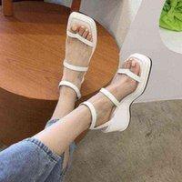 Zuecos cuña sandalia de tacón alto para mujeres sandalias correas traje hembra beige beige mocasines de verano zapatos de mujer grande tamaño 210619 pvgxmrhm