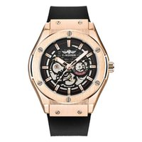 Relojes de pulsera Ganador Fashion Silicone Belt Militares Militar Skeleton Mecánico Reloj Hombre Relogio Masculino