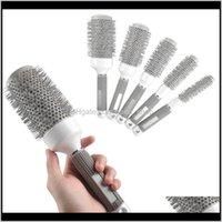 Escovas Cuidados Produtos Gota entrega 2021 Atacado - 5 pçs / lote Tamanho da mistura redondo conjunto de rolamento de rolamento barril escova de enrolamento pente de pente de cabelo ferramentas barbeiro