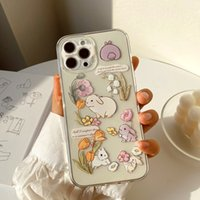 Cell Phone Cases Little fresh Bunny Case For iPhone 11 Pro Max X XS XR 7 8 Plus 12 Smooth soft Couples Back Cover By DHL