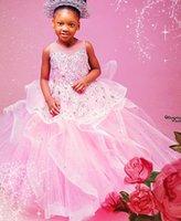 2021 Розовые Кружева Кристаллы Цветочные Девушки Платья Бальное платье Тюль Ширты Lilttle Дети День Рождения Пагенты Ведущие платья ZJ001
