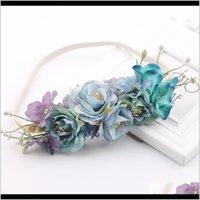 Aessori Strumenti Prodotti Drop Consegna 2021 Band Bridal Bridal Flower Flower Fascia Bohemian Artificial Floral Elastic Hairband Girland HA