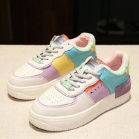 Okkdey Women Shoes 2021 Spring Cuero Fashion Transpirable Casual Casual Cómodo Non-Slip Fondo de Zapato de Zapato de Zapato
