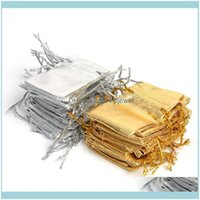 Pouches, Jewelry & Display Jewelry100Pcs Sier Golden Wedding Decoration Gifts Craft Candy Packaging Bags Metallic Foil Cloth Organza Dable P