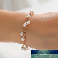 New Double Chains Bracelet For Women Korean Imitation Pearl Cool Statement Armband Women Cuff Bracelets Female Jewelry Factory price expert design Quality Latest