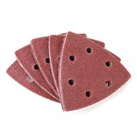 100 unids / paquete Papel de lijado de 90 mm Diámetro Ruedas de molienda Triángulo Papeles abrasivos Atrás Papel de lija seco con agujeros para muebles de pared de metal Uso de pulido