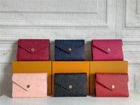الجملة مصمم محفظة جلد متعدد الالوان عملة محفظة قصيرة محفظة متعدد الألوان محفظة سيدة بطاقة حامل الكلاسيكية صغيرة سستة الجيب مع مربع