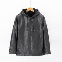 Men's Leather & Faux Homens jaqueta de inverno manga longa com capuz casual oversized velo couro do plutônio roupas meninos preto