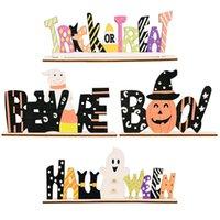 Szczęśliwy Halloween Dekoracje Dekoracje Dyni Sztuczka lub Treat Boo Sign Drewniane Drzwi Wiszące Ornament Halloween Party Home Desktop Deco
