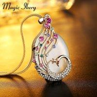 Magie Ikery Rose Gold Couleur Cristal Opal Boho Boho Boho Paon Paacock Virage Longues Colliers Mode Bijoux pour Femmes 00046 Pendentif