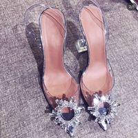 Интернет-знаменитость заостренные носки прозрачные сандалии женские лето 2020 новая лодыжка-ремешка шпилька горный хрусталь сексуальный закрытый носок высокие каблуки роды