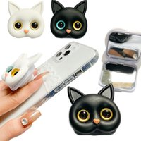 Retractable 3D Cat Hand Grip Air Bag Cellphone Holder Smartphone Stand White Black Animal Universal Cell Phone Finger Grips Mounts with Selfie Makeup Mirror