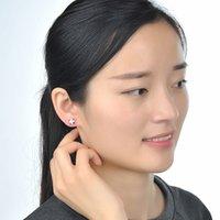 Sterling Silver Earrings Stud Red Flower Zircon Diamond Earring for Women 18K White Gold Plated Anniversary Gift