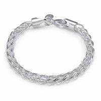Real original 925 pulseiras de prata simples torção redonda cadeia braceletes pulseira para homens mulheres fina homens jóias presente de boa qualidade 1578 v2