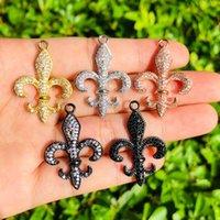 Charms 5pcs Fleur De Lis Charm For Women Bracelet Necklace Making Gold Plated Bling Pendant Handcrafted Jewelry Accessory Wholesale