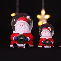 LED Kristal Topu Noel Dekorasyon Noel Baba Kardan Adam Çocuk Noel Hediye Reçine Işık Cam Topları HWD10123