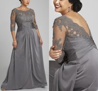 Plus Size Gray Mermaid Mother of the Bride Dresses with 3 4 Sleeves Scoop Neck Lace Chiffon Floor Length Formal Evening Prom Party Gowns