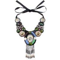 Chokers Design Mode Vintage Halskette Tibetan Button Big Chunky Statement BIB Perlen Quaste Anhänger Choker Halsband Für Frauen