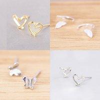 Sterling Silber Pin Schöne Schmetterling Hohl Liebe Ohrringe, Gold Und Silber, Jahr Geschenkbolzen