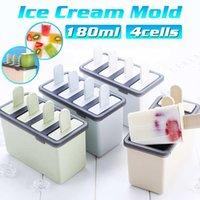 Máquina de fabricación de helados Cuadrado 4 Célula Silicona Popsicle Makers Moldes Moldes DIY Cubo Molde Caja de Molde Yogur Lolly Molde Bandeja Herramientas