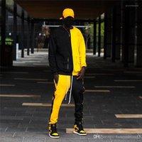Hombre Hip Hop Tracksuits Contraste Color paneles de manga larga Hombres 2 unids Conjuntos de estilo de calle para hombre Sudaderas con capucha y pantalones casuales