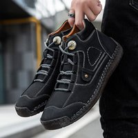 Boots Valstone Fashion Men's Leather Ankle Quality Casual Flats High-top Shoes Autumn Male Breathable Non-slip Lace-up Botas