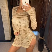 Women's Swimwear Polyester Beach Swimming Cover Up Summer Bathing Suit Bikini Blouse For Women Western Side Slit Hollow Knitted Solid