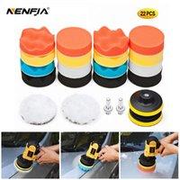 22 pcs buffing pad set thread 3/4/5/6 / polegada auto carro de polimento de carro para polisher + adaptador de broca M10 M14 ferramentas elétricas cuidados produtos