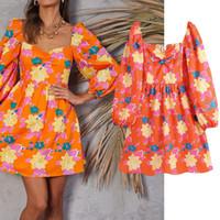 Casual Dresses Nlzgmsj female za floral autumn print square neck mini dress for long sleeve ladies party dresses 06 KXYP