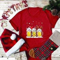 Seeyoushy Womens 티셔츠 맥주 3 잔 프린트 크리스마스 그래픽 티셔츠 Femme 패션 짧은 소매 여자 옷 플러스 크기
