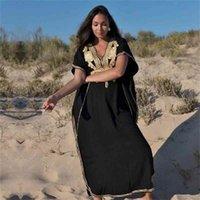Robe à robe longue 100% coton pour femmes Pareo de Plage Maillot de bain Couvre-maillot de bain Sarongs Sawear Kaftan Beach # 210319
