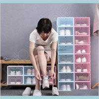 Caixas de arrumação Organização Home Jardim Engrossar Clear Plástico Improperte Armazenamento Caixas De Sapato Transparente Caixas De Candy Cor Stackable Sapatos