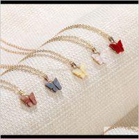 Anhänger Drop Lieferung 2021 Bunte Schmetterling Anhänger Halskette Goldketten Für Frauen Einfaches Temperament Harz Stein Druzy Halsketten Schmuck