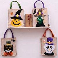 26 * 15 cm Sacola de linho de halloween sacos de abóbora sacos de armazenamento de doces festivos 4 estilos Halloween decoração bolsa CYZ3265