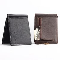 Wallets Portable Mini Men's Genuine Leather Money Clip Wallet With Coin Pocket Small Card Cash Holder Metal For Male