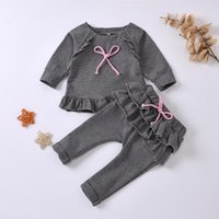 Clothing Sets Toddler Baby Girls Autumn Clothes Ruffle Long Sleeve Solid Bowknot Pullover +Pants Kids Outfits Winter Girl 0-3Y