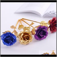 Decorative Wreaths Festive Party Supplies Home Garden Drop Delivery 2021 Gold Foil Artificial Flower Golden Rose Handmade Dipped Long Stem Lo