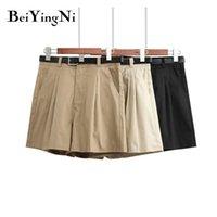 Shorts femininos Beiyingni Verão Vintage Mulheres Bolsos Sashes Hipster Casual Cintura Alta Cor Sólida Plus Size Solto Curto Feminino