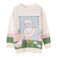 Women's T-Shirt Sweet cute bow lady swan o-neck pullover sweater winter 4XMH