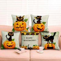Cushion Decorative Pillow 5 Styles Linen Cushion Cover Pillowcase Halloween Pumpkin Case Cojines Decor Sofa Throw Pillows Room Decorative 1p