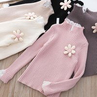 Pullover Girls Sweater Autumn And Winter Lace Stitching Fake Two-piece Knitted Bottoming Shirt
