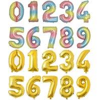 32 inç sayı balonlar 50 adet / takım 0-9 numara alüminyum folyo balon doğum günü düğün parti süslemeleri