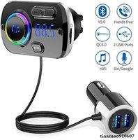 블루투스 송신기 자동차 FM 키트 핸즈프리 QC 3.0 무선 AUX 오디오 수신기 MP3 음악 플레이어 USB 전화 충전기 지원 TF 카드 지원