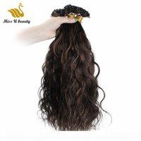 Siyah Kahverengi Mix Renk # 1B # 6 i İpucu İnsan Saç Uzantıları Yüksek Kaliteli Bakire Saç Doğal Dalga Dalgalı Saç 100g Paket