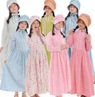 Halloween-Kostüme für Mädchen Bürgerkrieg Mittelalterliche Vintage-Feiertage Party Kinder Blumenkleider mit Hut Outfits Kolonialkostüm WJL0477